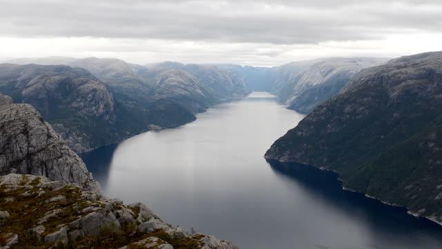 lysefjorden seen from preikestolen cliff, norway - stavanger stock videos & royalty-free footage