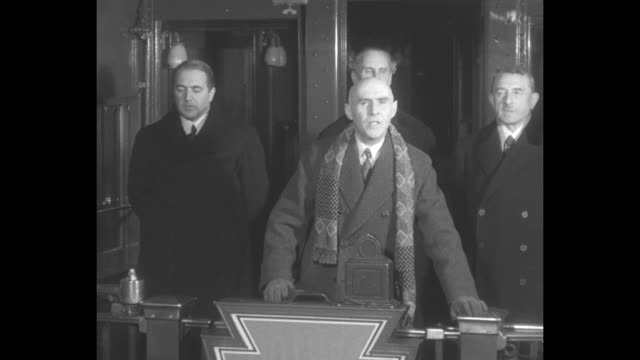 lytton commission members, count luigi aldrovandi marescotti of italy and dr. heinrich schnee of germany stand with lord lytton of great britain as... - manchuria region stock videos & royalty-free footage
