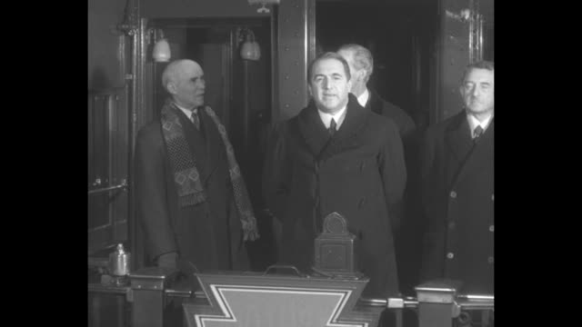lytton commission members, general henri claudel of france and dr. heinrich schnee of germany stand with lord lytton of great britain as he... - manchuria region stock videos & royalty-free footage