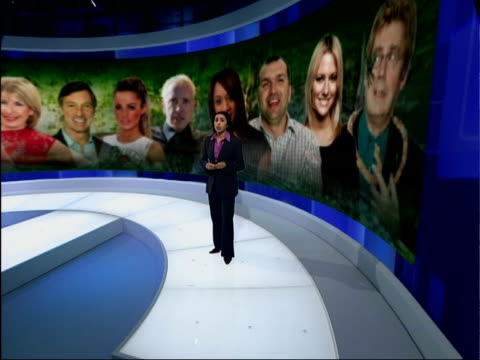 m a celebrity...' winners earing potential; itv evening news: nina nannar england: london: gir: int i/c with video wall graphics london: max clifford... - itv evening news stock-videos und b-roll-filmmaterial
