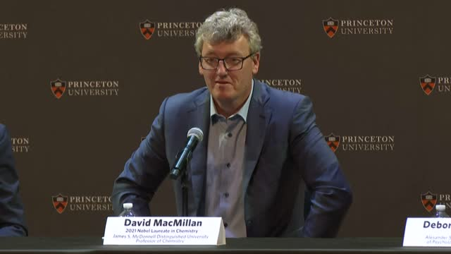 """m still trying to find my feet underneath me,"""" princeton professor david macmillan tells a press conference after winning the nobel chemistry prize... - chemistry stock videos & royalty-free footage"""