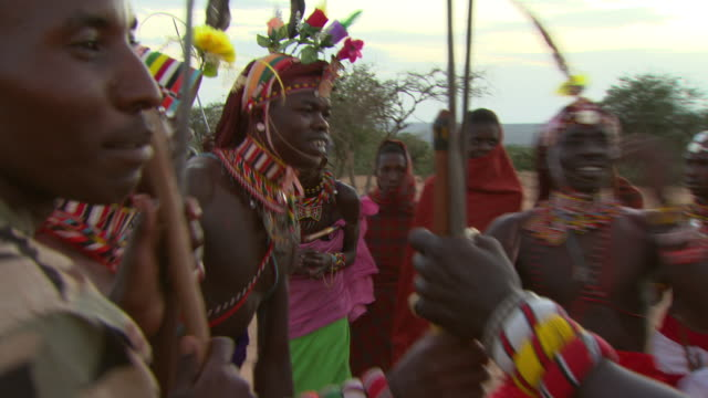 Maasai Ceremony - Young warriors dancing and singing, WITH AUDIO