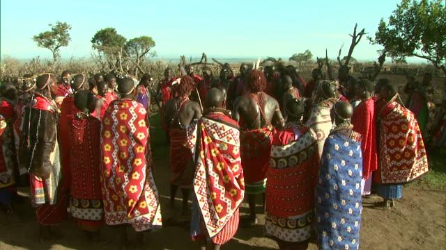 maasai men take turns jumping up and down in africa as a crowd claps around them. - krieger menschliche tätigkeit stock-videos und b-roll-filmmaterial