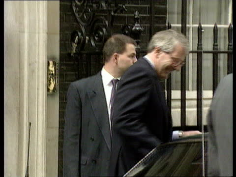 Denmark rejection and reactions ITN ENGLAND London No 10 Downing Street John Major out No 10 ZOOM IN as waves as into car TLMS Gates of Parliament as...