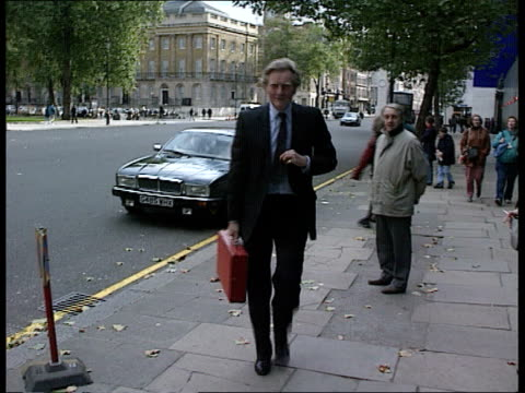 Government bill Tory rebellion EXT London TCMS Chancellor Norman Lamont MP from car PAN LR as towards building MS Trade Sec Michael Heseltine MP...