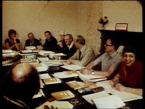 stockvideo's en b-roll-footage met tory whip tactics; itn lib location unknown tms labour nec meeting pull out tcms james callaghan mp at meeting tms tony benn mp and eric heffer mp at... - tony benn