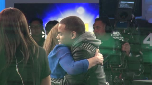 mac wilds being congratulated after his performance by ginger zee & josh elliott on the good morning america show in celebrity sightings in new york, - ginger zee stock videos & royalty-free footage