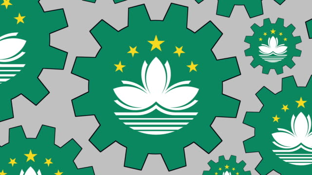 macanese flag gears spinning background - macao flag stock videos & royalty-free footage