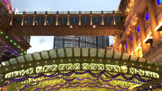 the parisian hotel skyline at christmas time - cotai strip stock videos and b-roll footage