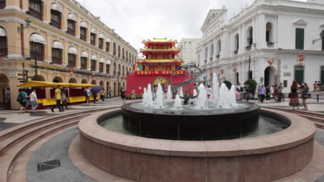 macau china september 24 2016 the senado square or senate square is a paved town square in sé macau china and part of the unesco historic centre of... - leal senado square stock videos & royalty-free footage