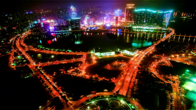Macau, China-Nov 25,2014: The night view of Macau peninsula from Macao Travel Tower in Macao, China