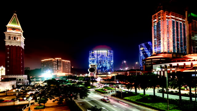 Macau, China-Nov 26,2014: The amazing view of Casinos at night in Macau, China