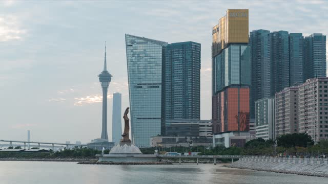 macau city sunset time lapse - macao stock videos & royalty-free footage