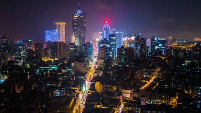 macau cityscape at night time - macao stock videos & royalty-free footage