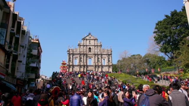 macau crowds - 聖ポール天主堂跡点の映像素材/bロール