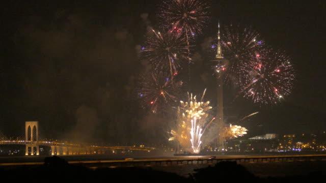 macau international fireworks display contest, macau, china - macao stock videos & royalty-free footage
