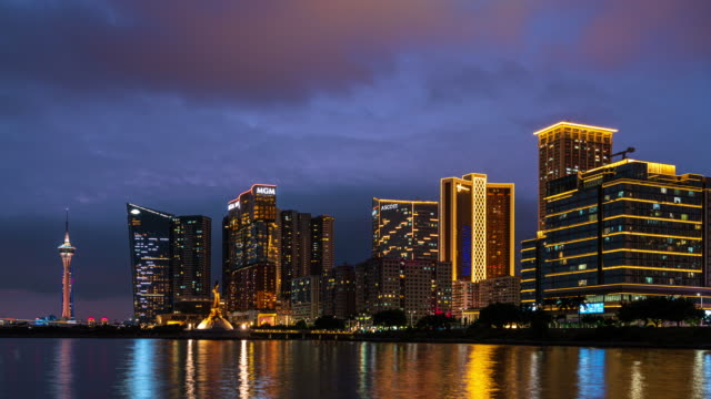 macau or macao cityscape during dusk, all hotel and tower are colorful lighten up with blue sky. it is panoramic scene for macau island. there is a kun lam statue that build by portuguese government in the centre. - guanyin bodhisattva stock videos & royalty-free footage