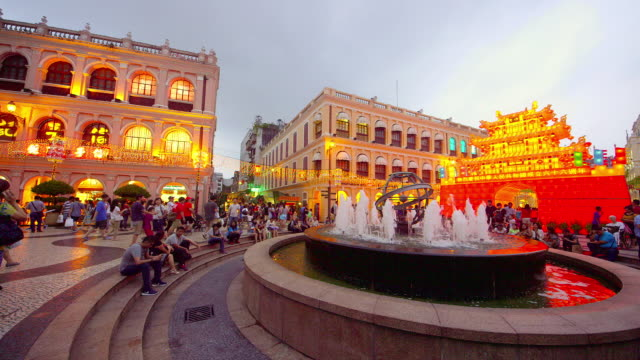 macau - leal senado square stock videos and b-roll footage