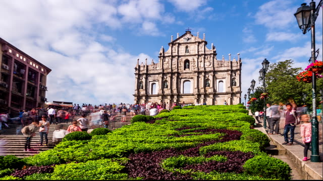 Macau,China-Nov 24,2014: The landmark of Macau: The ruins of St.Paul Cathedral in Macau, China