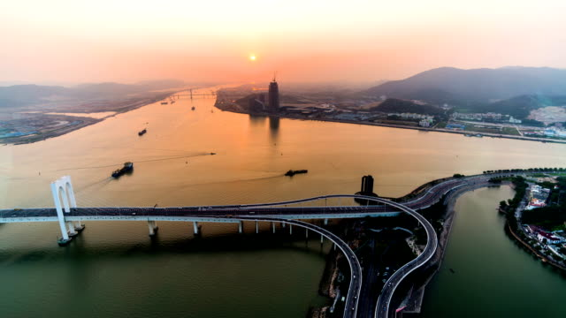 Macau,China-Nov 25,2014: The bird's view of sunset at sea in Macau, China