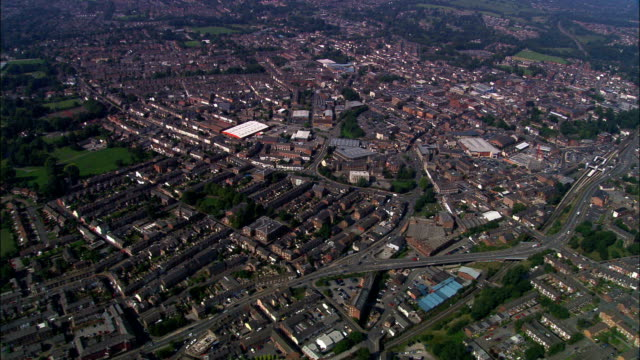 macclesfield - aerial view - england, cheshire east, united kingdom - cheshire england stock videos & royalty-free footage