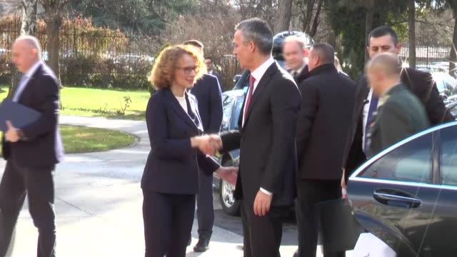 Macedonian Minister of Defence Radmila Sekerinska meets with NATO Secretary General Jens Stoltenberg in Skopje Macedonia on January 18 2018