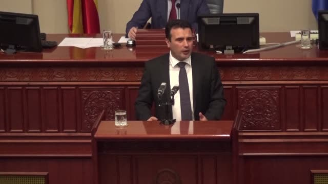 macedonian politicians voted to change the country's name to republic of north macedonia settling a decades long row with greece and paving the way... - grecia stato video stock e b–roll