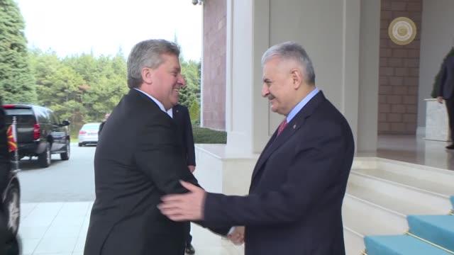 Macedonian President Gjorge Ivanov and Turkish Prime Minister Binali Yildirim attend a working lunch at Cankaya Palace in Ankara Turkey on February...