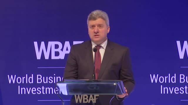 Macedonian President Gjorge Ivanov delivers a speech at the World Business Angels Investment Forum in Istanbul Turkey on February 19 2018 A meeting...