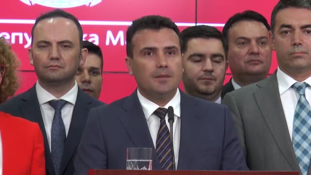 Macedonian Prime Minister Zoran Zaev holds a press conference about the agreement with Greece to change the country's name on June 12 2018 in Skopje...