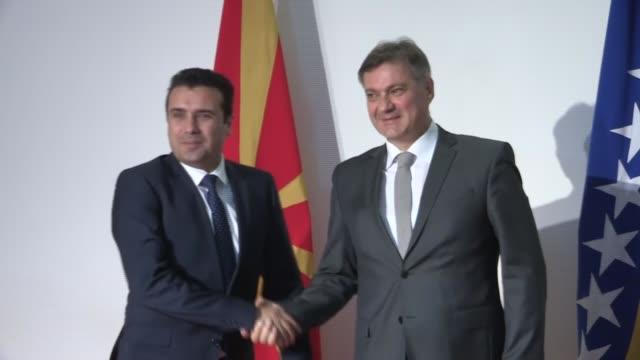 Macedonian Prime Minister Zoran Zaev meets Chairman of the Council of Ministers of Bosnia and Herzegovina Denis Zvizdic in Sarajevo Bosnia and...