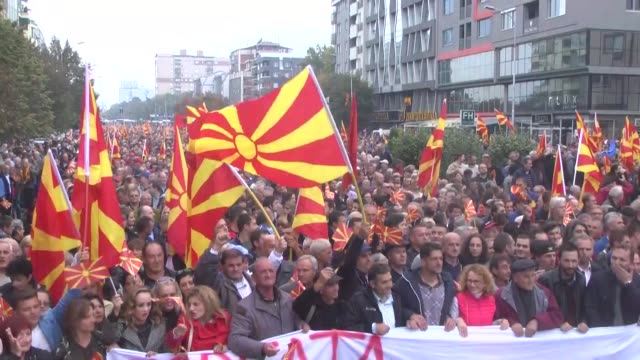 macedonians stage an anti-government demonstration in skopje on october 11 as macedonia celebrated 75 years since the start of an uprising during... - war stock-videos und b-roll-filmmaterial