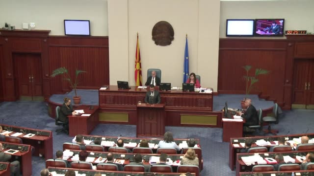 macedonia's parliament debates whether to approve a deal changing the country's name to settle a long running dispute with greece - grecia stato video stock e b–roll