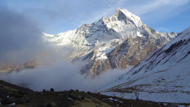 machapuchare from annapurna base camp in nepal - annapurna range stock videos and b-roll footage