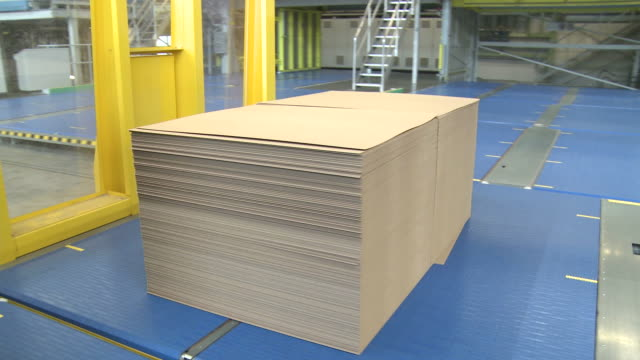 MS TS machine carry bundle of paper in corrugated paper mill / Werne, North Rhine Westphalia, Germany