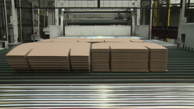 ms machine carry bundle of paper in corrugated paper mill / werne, north rhine westphalia, germany - paper mill stock videos & royalty-free footage