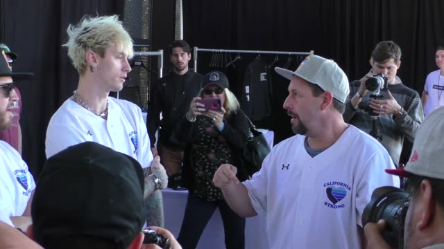 machine gun kelly & adam sandler at the california strong celebrity softball game at pepperdine university in malibu in celebrity sightings in los... - arts culture and entertainment stock videos & royalty-free footage