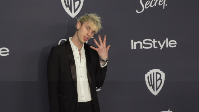 machine gun kelly at the warner bros and instyle host21st annual postgolden globes party at the beverly hilton hotel on january 05 2020 in beverly... - warner bros stock videos & royalty-free footage