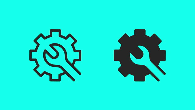 machine maintenance icons - vector animate - wrench stock videos & royalty-free footage