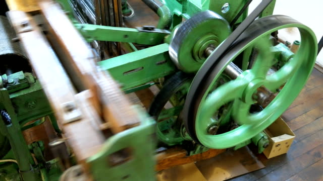 machinery part of a retro classical style weaving machine - needle plant part stock videos & royalty-free footage