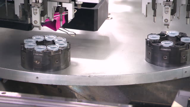 Machines at a contact lens manufacturing factory