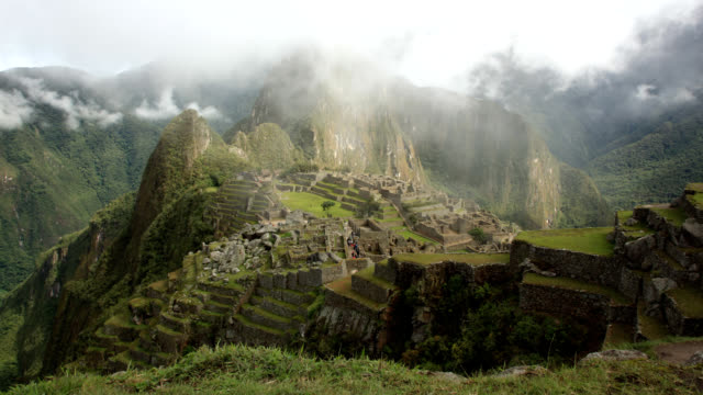 machu picchu in mist ws timelapse - empire stock videos & royalty-free footage