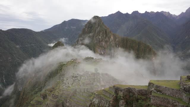 Machu Picchu ruins covered by fog