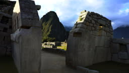 machu picchu ruins main temple gimbal shot