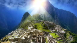 Machu Picchu with fictional sunset perspective