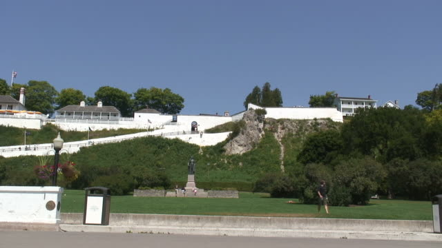 mackinac fort 3 - hd 1080/60i - fortress stock videos & royalty-free footage