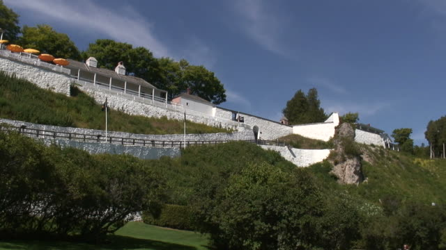 mackinac fort - hd 1080/60i - tree fort stock videos & royalty-free footage