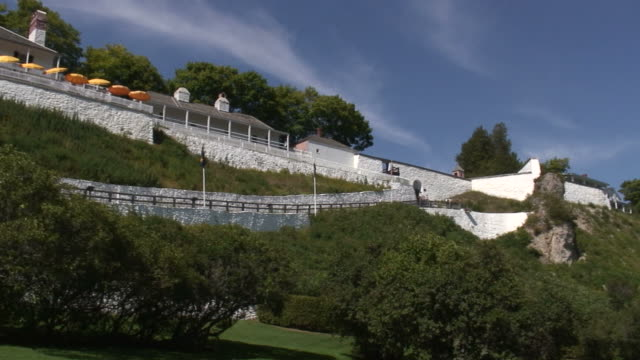 mackinac fort panorama - hd 1080/60i - tree fort stock videos & royalty-free footage