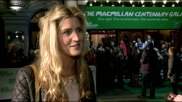 macmillan centenary gala; francesca 'cheska' hull interview sot - on filming made in chelsea christmas special - exhausting but emotional and good... - i'm a celebrity... get me out of here stock videos & royalty-free footage
