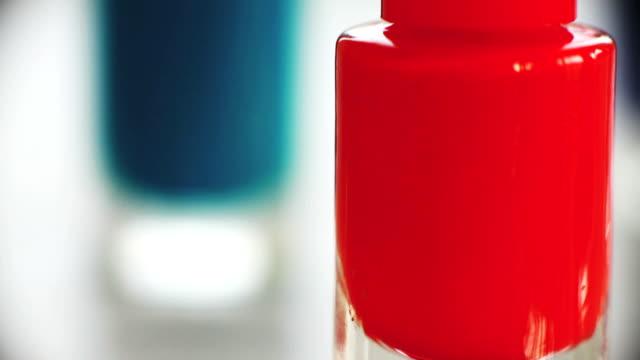 Macro bottles of nail varnish